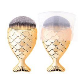 Wholesale Hat Kits - Mermaid Foundation Makeup Brush Fish Shaped Powder Blusher Cosmetic Make-up Brush Tool Kit Fishtail Bottom Contour brush with hat protecter