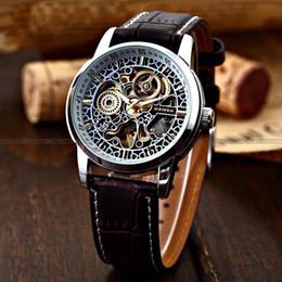 Wholesale Shanghai Watches - Wholesale- Famous Brand Shanghai Shenhua Watch Men Fashion Vintage Automatic Mechanical Skeleton Watches For Men PU Leather Heren Horloge
