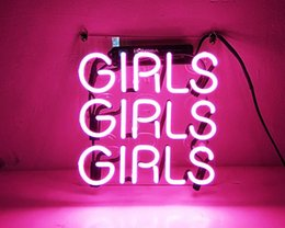 """Wholesale Pink Places - Fashion New Handcraft Neon sign """" Pink Girls """" Real Glass Tubes For Bedroom Home Display neon Lighht sign 10x10!!!"""