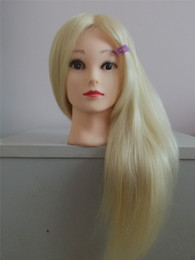 Wholesale Training Doll Head - 68cm 100% Blonde Human Hair Female Mannequin Hairdressing Styling Training Head doll high quality Mannequin Head