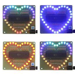 Wholesale Electronic Warming - Wholesale- New DIY Kit Heart-shaped LED Red Blue Colorful Light Water Electronic Flashing Set Eletronic Brand New