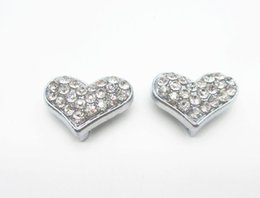 Wholesale Collar Dog Sliders - 10mm full rhinestone heart slide charms zinc alloy Metal beads Pendant fit 10mm Wrist strap belt pet dog cat collars