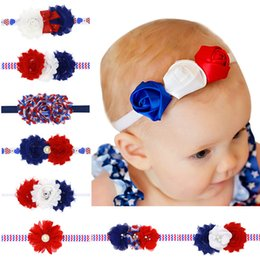 Wholesale Shabby Flower Baby Headband - 2017 Baby Girl Shabby Flower Headband 4th Of July Elastic Hairband Infant Children Hair Accessory For Girls