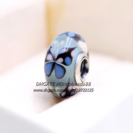 Wholesale Glass Butterfly Beads - S925 Sterling Silver jewelry Blue butterfly Murano Glass charms Beads Fit European pandora DIY Bracelets & Necklace