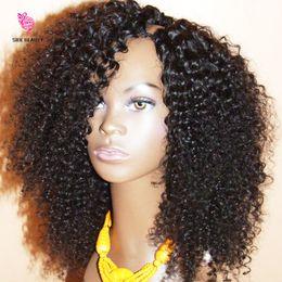 Wholesale 24 U Part Wigs - Cheap Kinky Curly U Part Wig Virgin Hair 100% Unprocessed Peruvian Human Hair Upart Wigs Kinky Curly U-Part Wig For Black Woman