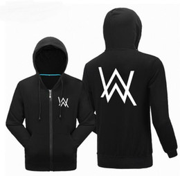 Wholesale Mens Zip Up Hoodie Black - Wholesale-Alan Walker Hiphop Spring Hoodies Mens 2016 Remix Printing Zip Pullovers Unisex Hooded Streetwear