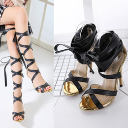 Wholesale Bandage Sandals - 2017 New Unique sandals shoes women sandals Sexy 12CM Bandage Lace Fashion Hollow Out Gladiator Superb Stiletto High Heel free shipping