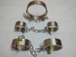 Wholesale Sextoys Sale - Sex tools for sale stainless steel sex collar legcuffs handcuffs sexy sex toys bdsm bondage harness set sextoys adults for men and women