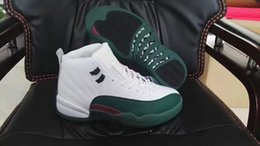 Wholesale High Top Shoes Sales - New Retro 12 Bucks White Green Red Mens Basketball Shoes Men High Top 12s Sports Training Sneakers 2017 For Sale