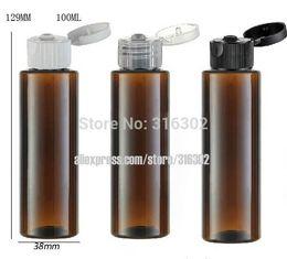 Wholesale Bottle Flip Tops - 20pcs lot 100ml DIY amber pet plastic bottle, 100ML Pet bottle with flip top cap, 100cc amber cream bottle