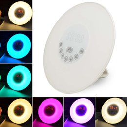Wholesale Digital Clock Lamp - Wholesale- DC5V Digital Led Alarm Clock Radio FM RGB White Adjustable Color Changing Touch Display Circular Modern Wake Up Table Lamp Light