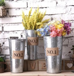 Wholesale Iron Floor - Retro Metal Planter Flowerpot Vintage Rustic Nostalgia Iron Buckets Garden Pots Tin Planters Bucket Storage Container KKA1587