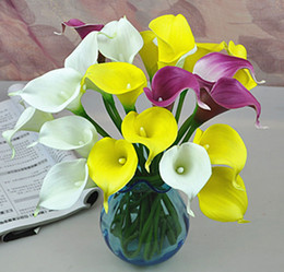 Wholesale Calla Lily Vases - Wholesale-12pcs lot PU Artificial FlowersReal Touch Mini Calla Lily Artificial Flowers for Home Decoration Wedding Bouquets (no vase)