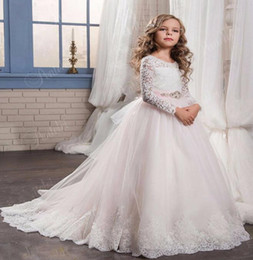 Wholesale Dresse For Party - Light Pink Flower Girl's Dress For Wedding Lace Long Sleeves Girls Birthday Party Dress Custom Made Child Bride Dresse