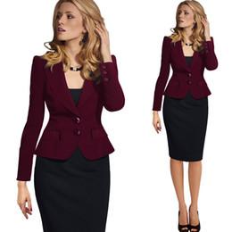 Wholesale Turn Down Wear Women - Wholesale Womens Autumn Winter Long Sleeve Turn Down Collar Button Wear to Work Blazer free shipping