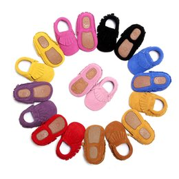 Wholesale Infant Baby Shoe Style - New Styles Suede Genuine Leather Infant Toddler Newborn Baby Children First Walkers Crib Moccasins Soft Moccs Shoes Footwear