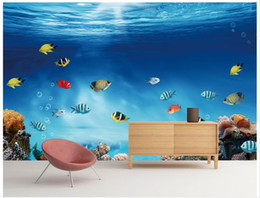 Wholesale Fishing Pictures Free - 3D wall murals wallpaper custom picture mural wall Blue tropical fish coral 3D living room wallpaper Free shipping