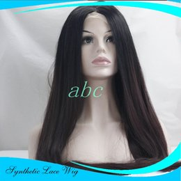 Wholesale Long Straight Layered Wigs - Long red layered hairstyle root dark red burgundy 99J wig synthetic red lace front wig ombre wig For Black Women