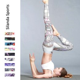 Wholesale Green Striped Leggings - Silanda Sports Women Floral Printed Yoga Leggings Elastic Yoga Pants Quick Dry Striped Workout Yoga Fitness Wear Running Tights Gym Outfits
