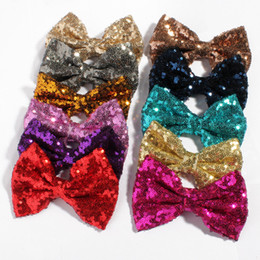 Wholesale embroideried sequin bows - Fashion 5'' Large Messy Sequin Hairbow Clip,Embroideried Sequin Bows With Clip hairband for Kids Hair Accessories HOT SALE DROP SHIP 20PCS