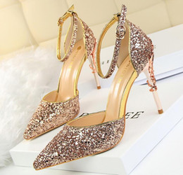 Wholesale thin metal heel sandals - European Fashion Sexy Thin High Heels Sandals Metal High Shining Sequins Ankle Strap Sandals Pointed Single Pumps OL Wedding bride Shoes 277