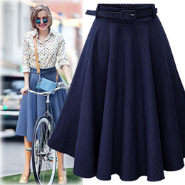 Wholesale high waist gowns - New Arrival Plus Size Jeans Pleated Skirts Women Fashion A-line High Waist Sashes Knee-Length Denim Skirts