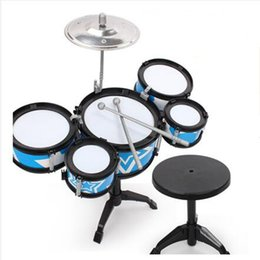 Wholesale Musical Instruments Set Kids - Wholesale- New Arrival Children with Jazz Drums Sticks Portable kids Toys Drum Pad Kit Set Musical Percussion Instruments Roll-up Drums