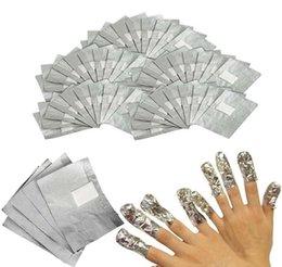 Wholesale Gel Polish Piece - 4000 Pieces Gel Polish Removal Wraps Tinfoil Manicure Foil Stickers Aluminum Foil Silver Paper with Cotton Nail Wrapped Paper