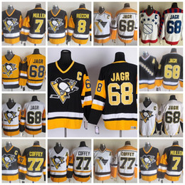 Wholesale Hockey Jerseys Pittsburgh - Men's Pittsburgh Penguins #68 Jaromir Jagr 7 Joe Mullen 8 Mark Recchi 77 Paul Coffey Jersey Black Blue White Yellow CCM Throwback Stitched