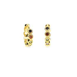 желтое золото покрыло серьги обруча huggie Скидка простой 18K желтое золото покрытием 10 мм мини-небольшой обруч многоцветный цирконий женщин серьги обруча huggie