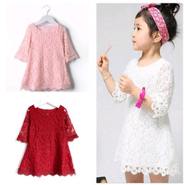 Wholesale Cheap Wholesale Baby Dresses - Girls Lace Dresses 2017 Summer Autumn Style Floral Baby Kids Girls Three-quarter Sleeves Straight Dress Children Clothing Cheap Wholesale