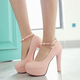 Wholesale High Heel Strap Platform - Sweet Women High Heel Dress Shoes Chunky Heel Round Toe Buckle Strap Platform Fashion Wedding Pumps Simple Elegant Women Shoes Size 32-43