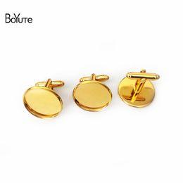Wholesale Wholesale Brass Cuffs - BoYuTe 50Pcs Round 12MM 14MM 16MM 20MM Cabochon Base Metal French Cufflink Blanks Tray Bezel Diy Jewelry Accessories