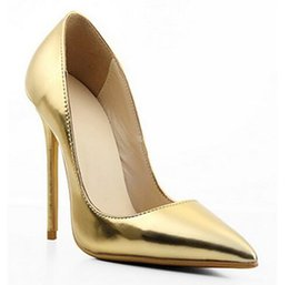 Wholesale Golden Dance Shoes - Fashion Golden Pointed Toe Leather Women Pumps Thin High Heel Stilettos Office Lady Shoes female dance party shoes Zapatos Mujer