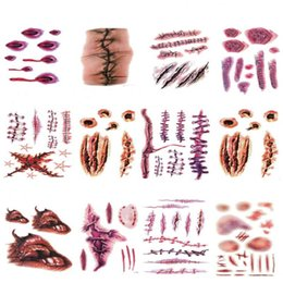 Wholesale Zombie Scars - Halloween Scratch Wound Scab Blood Scar Tattoos Temporary Tattoo Sticker Cosplay Wound Zombie funny Scars blood Party DHL Free