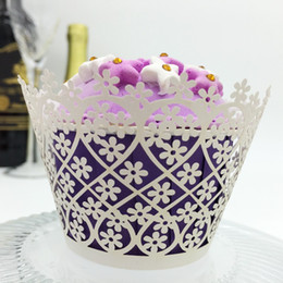 Wholesale Small Cupcake - wedding favors small flowers Laser cut Lace Cream Cup Cake Wrapper Cupcake Wrappers For Wedding Birthday Party Decoration 12pc per lot
