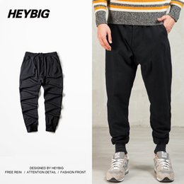 Wholesale Men Casual Clothing China - Wholesale- Heybig Clothing Men Solid Black Regular Sweatpants Cuffed Trousers Single Back Pocket Jogger Hip hop China Size