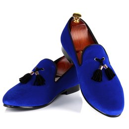Wholesale Dresses Halloween For Men - Harpelunde Blue Velvet Tassel Men Dress Shoes For Events Round Toe Leather Lining Free Shipping US Size 7-14