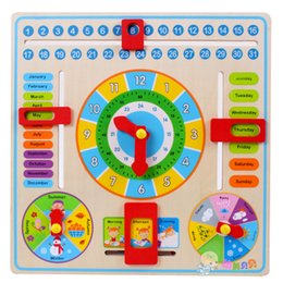 Wholesale Wooden Clock Puzzle - Wholesale- Calendar Clock Puzzle Hanging Wooden Board Children Kids Early Education Toy Learn Time Season Weather Month