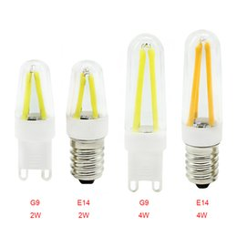 Wholesale Glass Shell Lamp - E14 or G9 Dimmable led filament lamps 2W or 3W AC220V indoor lighting candle bulb glass shell warm white  White light