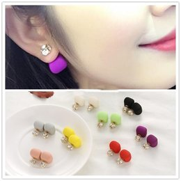 Wholesale Earrings Candy Colours - Fashion Stars Double Sided Pearl Earrings Cubic Zircon ball Candy colours Celebrity Earrings D Brand Jewelry for Women