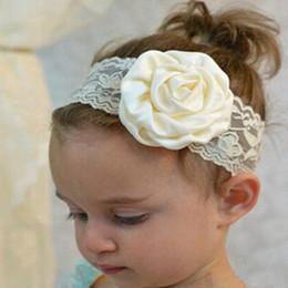Wholesale Elastic Lace Headbands Rose - Girls Hair Accessories baby headband lace Flower Elastic Hair Bands Rose Lace Kids hair accessory Children headdress 10 Colors C794