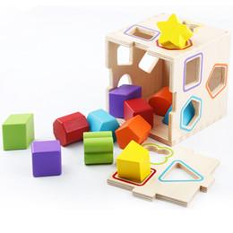 Wholesale Wood Shapes Geometric - Wholesale- Montessori Kids Toy Geometric Intelligent Cage Shape Puzzles Wood Preschool Brinquedos Juguets