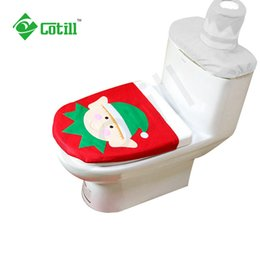 Wholesale toilet ornaments - Wholesale-2016 Christmas Decoration Santa Toilet Seat Cover For Home Decor Bathroom Se Santa Claus Merry Christmas Ornament