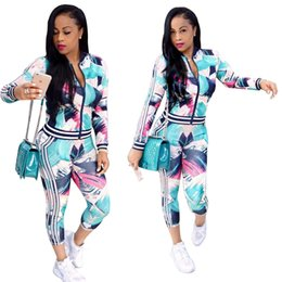 Wholesale Long Dresses Printed - Newest Women Sexy Ladies tracksuits Tops Pants Women Two- Pieces Set Sportwear Woman Dresses Womens Sports