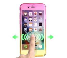Wholesale Clear Touch Screen - For Samsung S8 Plus 2017 A3 A5 A7 J3 J7 360 Degree Full Body TPU Case for iPhone 7 6 6S 5 5S Gradient Transparent Touch screen Cover 1pcs