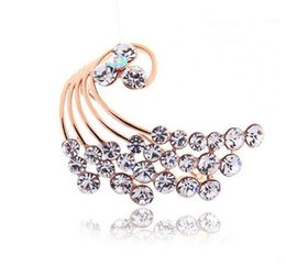 Wholesale Indian Peacock Brooch - Cute Gold Plated Clear Austrian Crystal made with Swarovski Elements Peacock Brooch Pins for Women Clothes Jewelry Bridal Party Accessories