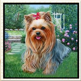 Wholesale Home Decoration Canvas Painting - YGS-543 DIY 5D Partial Diamond Embroider The dog Round Diamond Painting Cross Stitch Kits Diamond Mosaic Home Decoration