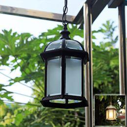 Candelabros jaula de pájaros online-Impermeable LED colgante jaula colgante luz de la lámpara Europeo americano retro vintage clásico colgante al aire libre lámpara de luz lámpara