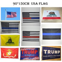 Wholesale police flags - 10 Styles USA Flags 3 By 5 Foot Blue Line American Police Flag,Texas California Flag,Donald Trump Flag
